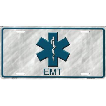 EMT Logo Metal License Plate