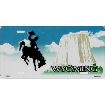 Wyoming Cowboy Metal License Plate
