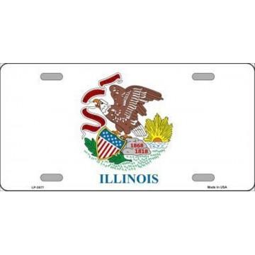 Illinois State Flag Metal License Plate