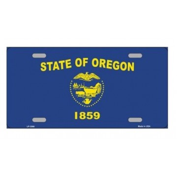 Oregon State Flag Metal License Plate