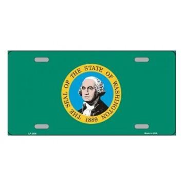 Washington State Flag Metal License Plate
