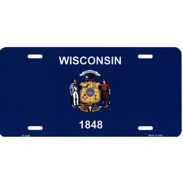 Wisconsin State Flag Metal License Plate