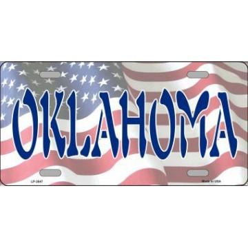Oklahoma On U.S. Flag Metal License Plate