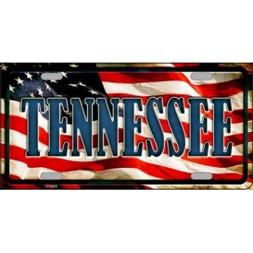 Tennessee On American Flag Metal License Plate
