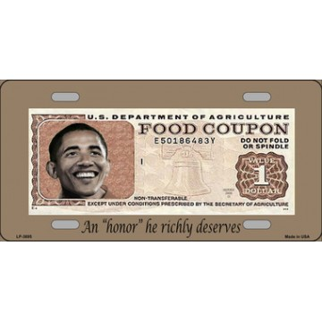 Barack Obama Food Coupon Metal License Plate