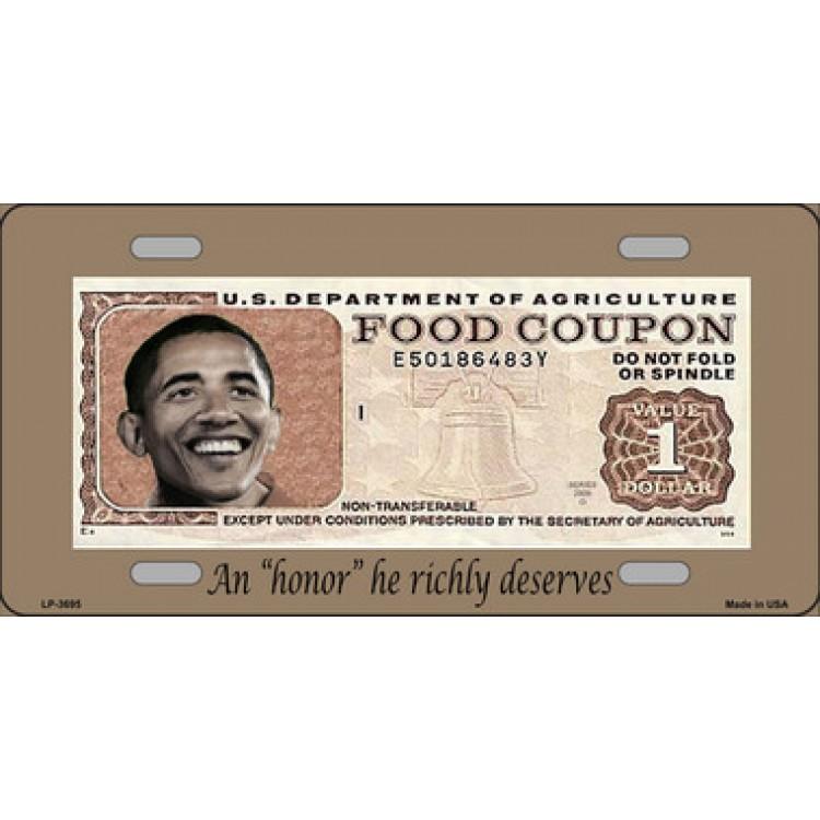 Barack Obama Food Coupon Metal License Plate