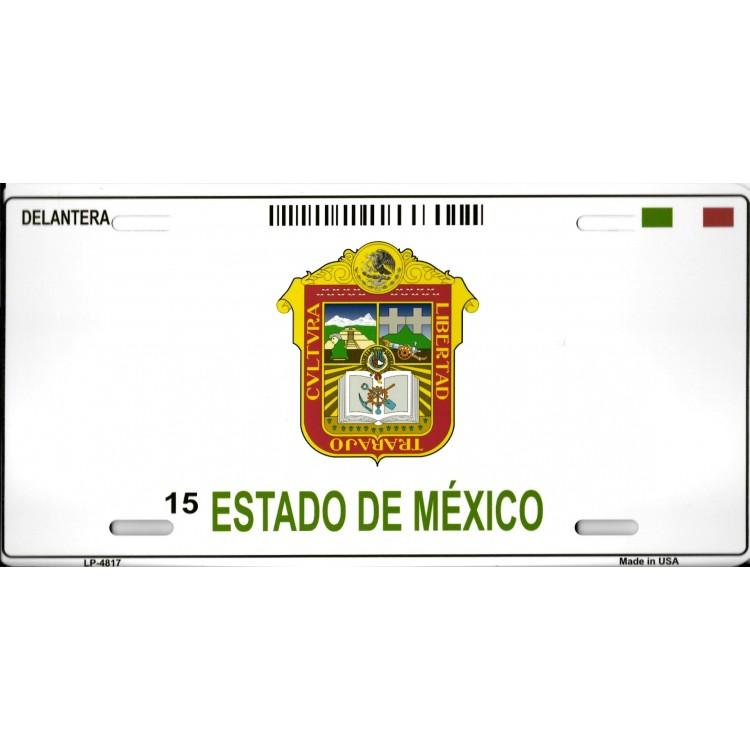 Estado De Mexico Blank Background Metal License Plate