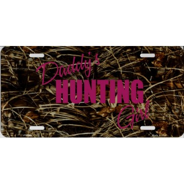 Daddy's Hunting Girl Pink On Camo Metal License Plate