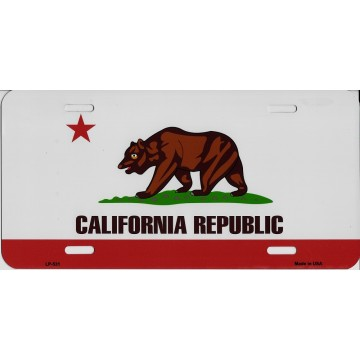 California State Flag Metal License Plate