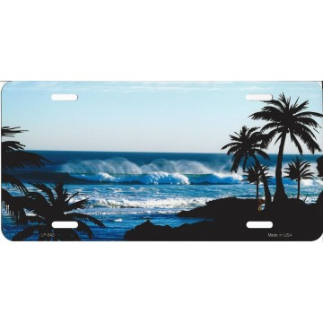 Beach Palm Scene Metal License Plate