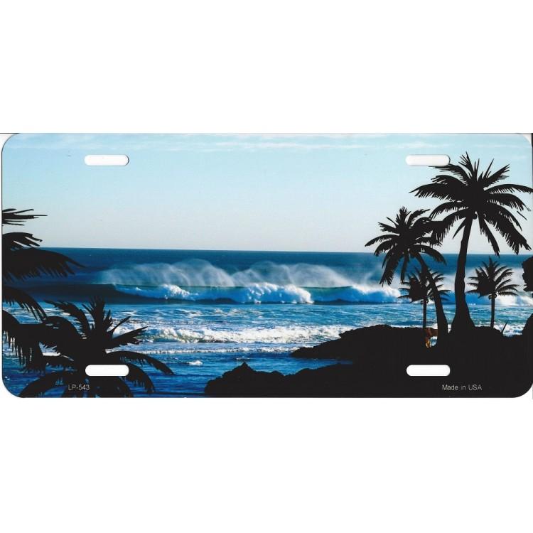 Beach Palm Scene Metal License Plate