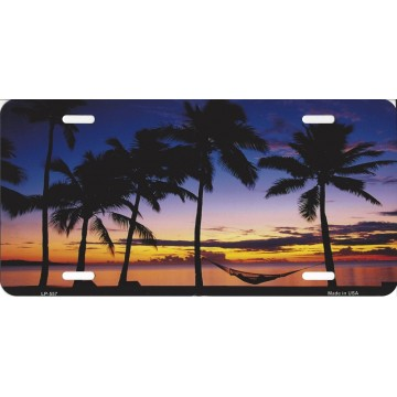 Beach Palm Hammock Scene Metal License Plate