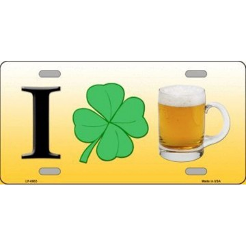 I Shamrock Beer Metal License Plate