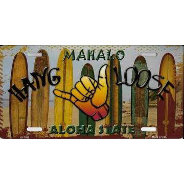 Hang Loose Surfboards Hawaii State Background Metal License Plate