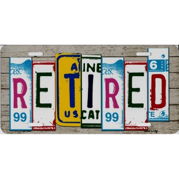 Retired Cut Style Metal License Plate
