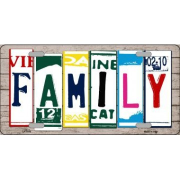 Family Cut Style Metal License Plate