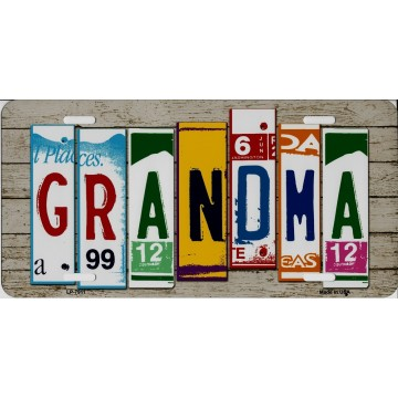 Grandma Cut Style Metal License Plate
