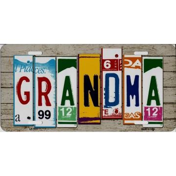 Grandma Cut Style Metal License Plate
