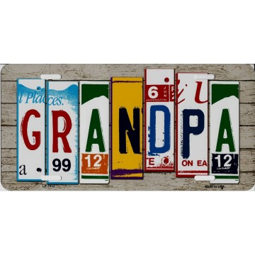 Grandpa Cut Style Metal License Plate