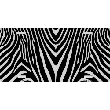 Zebra Print Metal License Plate