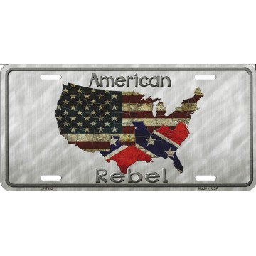American Rebel Confederate Flag Metal License Plate