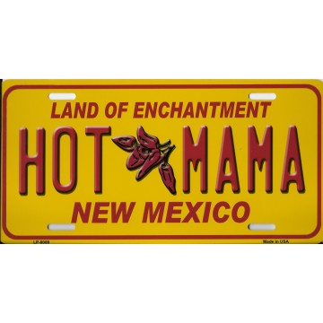 Hot Mama New Mexico Metal License Plate