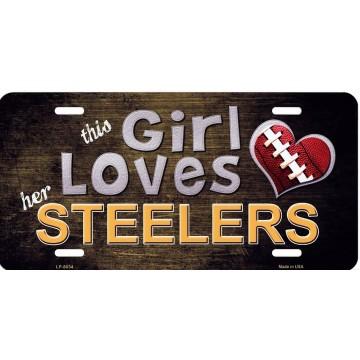 This Girl Loves Her Steelers Metal License Plate