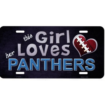 This Girl Loves Her Panthers Metal License Plate