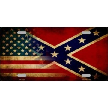 American Confederate Flag Metal License Plate