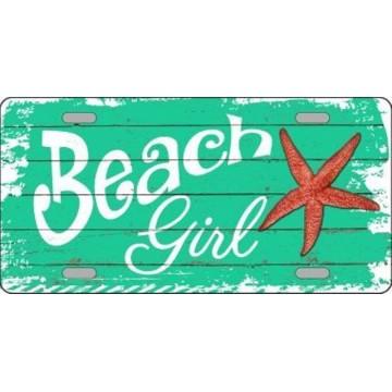 Beach Girl Metal License Plate