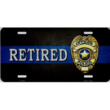 Police Officer Retired With Logo Metal License Plate