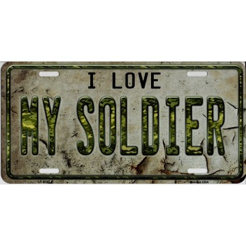 I Love My Soldier Metal License Plate