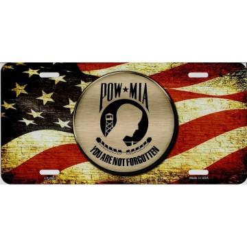 P.O.W. M.I.A. On U.S. Flag Metal License Plate