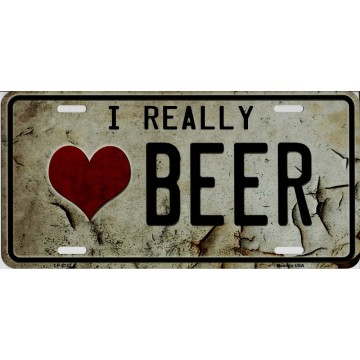 I Really Heart Beer Metal License Plate