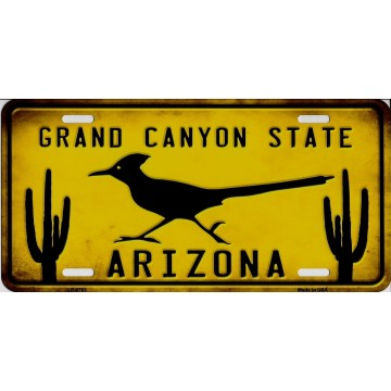 Arizona Grand Canyon State Roadrunner Metal License Plate