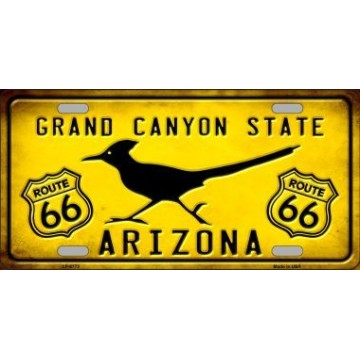 Arizona Grand Canyon With Route 66 Metal License Plate