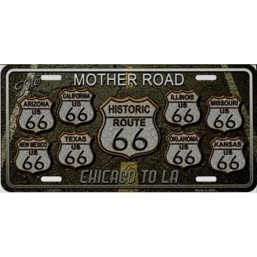 Route 66 Mother Road Chicago To LA Metal License Plate