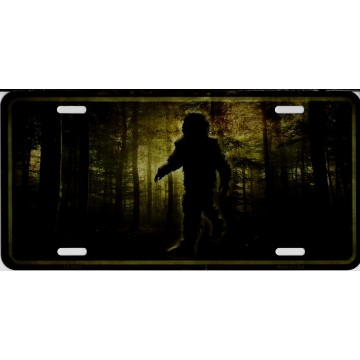 Bigfoot In Woods Metal License Plate