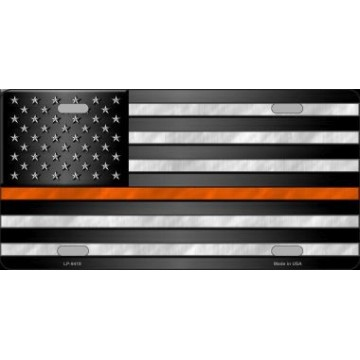 American Flag Thin Orange Line Novelty License Plate