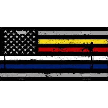 American Flag Police / Fire / EMS Metal License Plate