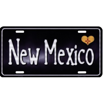 New Mexico Flag Script Metal License Plate