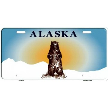 Alaska Bear Background Metal License Plate