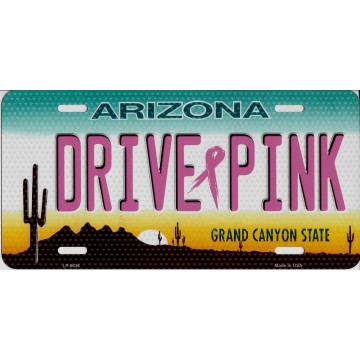 Arizona Drive Pink Metal License Plate