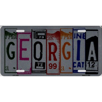 Georgia Cut Style Metal License Plate