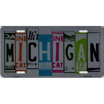 Michigan Cut Style Metal License Plate