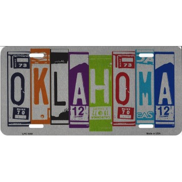 Oklahoma Cut Style Metal License Plate