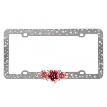 3D Red Blossom Pink & White Diamond Plastic License Plate Frame