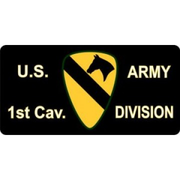 1st Cavalry Division Black Photo License Plate
