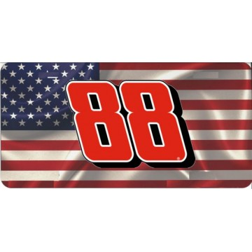 #88 On American Flag Photo License Plate