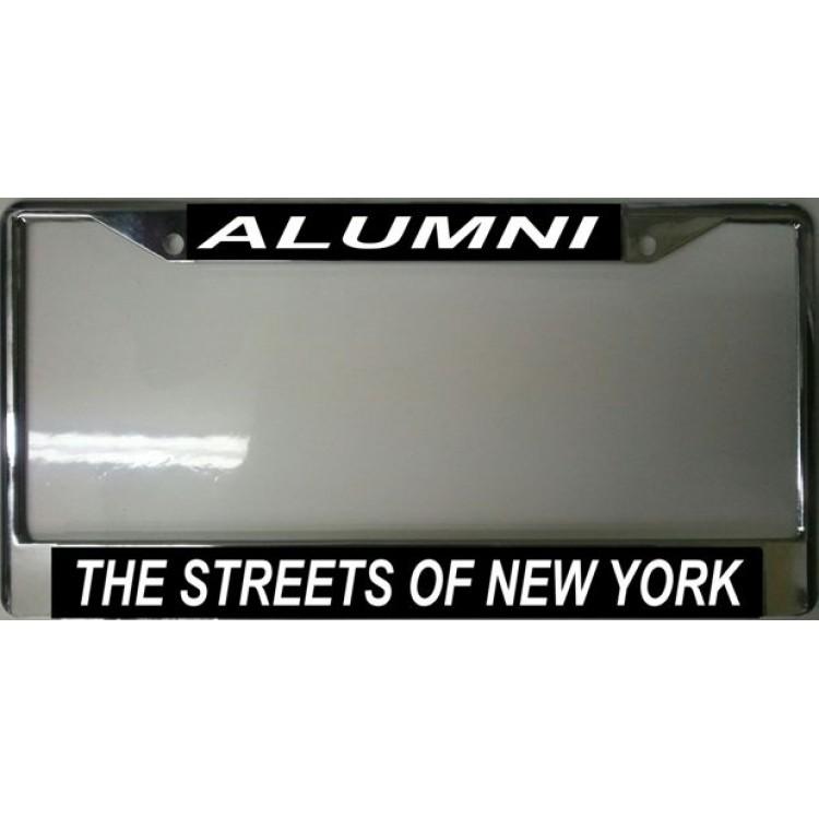 Streets Of New York Alumni Chrome License Plate Frame